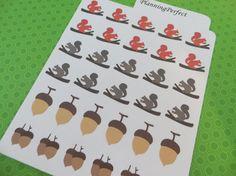 Squirrel and Acorn Stickers for Erin Condren by PlanningPerfect #planner #stickers #erincondren #lifeplanner #kikkik #plumpaperplanner #filofax #planning #scrapbook #squirrels #woodland #animals #cute #woods #acorns
