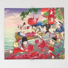 Material of old Japanese advertising Throw Blanket by Japanese, Blanket, Painting, Art, Art Background, Japanese Language, Painting Art, Kunst, Paintings