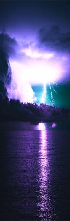 purple skies with lightening