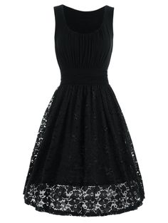 High Waist Drape Lace Panel Dress - BLACK S