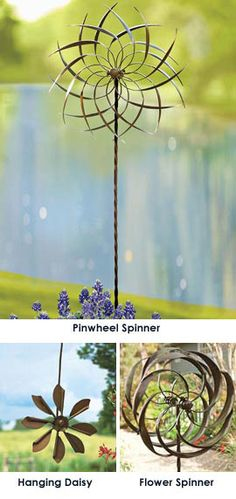 Kinetic Pinwheel Spinner with stake - Let the wind set these copper-plated Garden Spinners awhirl Quick and easy yard art! No plugging in, no batteries.these spinners are set in motion with just wind power.