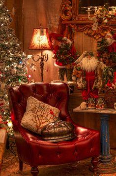 Happy Christmas Hollidays dear world. Christmas Interiors, Christmas Room, Christmas Scenes, Noel Christmas, Country Christmas, Winter Christmas, Vintage Christmas, Xmas, Victorian Christmas Tree