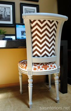 Cute Reupholstered Chair- helpful tips for reupholstering chairs with fabric inserts at back