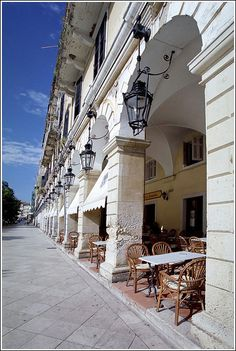 Cafe's everywhere in Corfu, Greece