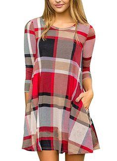 Boloren Womens Plaid Shirt Mini Dress With Pocket Long Sleeve Round Neck Casual  Loose Long Stripe Top 1b71143e3