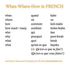 French, French and un petit peu plus de French: When-Where-How (les adverbes d'interrogation) Basic French Words, French Phrases, French Quotes, French Verbs, French Expressions, French Language Lessons, French Language Learning, Learn A New Language, Foreign Language
