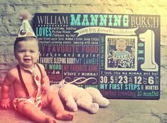 First Birthday Chalkboard Board Effect on Canvas for 1st Birthday Party, Customized Baby's First Birthday Boy or Girl,  Nursery Decor