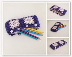 Cute granny square #crochet pencil case with fabric lining from @annemariesblog