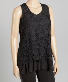 Loving this Black Crochet Tank - Plus on #zulily! #zulilyfinds