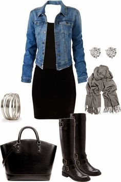 #winter #outfits / chambray shirt + black dress