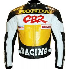 Men Honda Yellow CBR Motorcycle Leather Jacket Racing CE Protection XS-6XL New - Outerwear