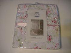 Rachel Ashwell Simply Shabby Chic Pink Cherry Blossom Ruffles Shower Curtain NWT #SimplyShabbyChic #FrenchCountry