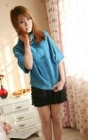 Batwing Half Sleeve Highneck Sweater Blue