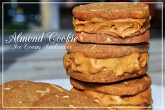 Almond Cookie Ice Cream Sandwich | Big Bang Bites | bigbangbites.com | Creamy coffee ice cream sandwiched between crunchy almond cookies.