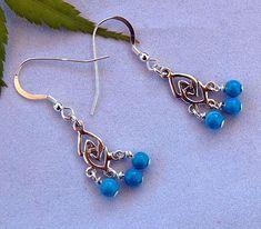 Turquoise and Sterling Silver  Chandelier Earrings - Drop Earrings - Dangle Earrings - December Birthstone