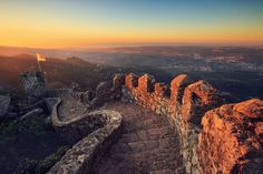 Castle of the Moors at Sunset, Sintra, Portugal