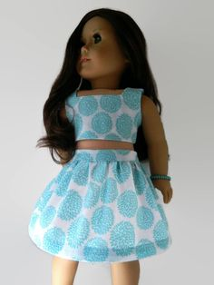 American Girl Doll Clothes - Summer set includes Skirt and Crop Top/Bustier