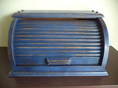 Vintage Solid Wood Roll Top Bread Box - Distressed Navy Blue Paint