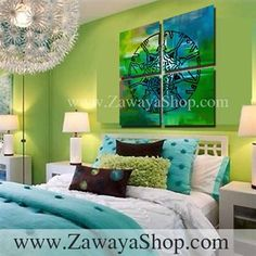 set of four art prints, canvas print islamic wall decorative art, painting print of arabic calligraphy green blue shades allah names (god)