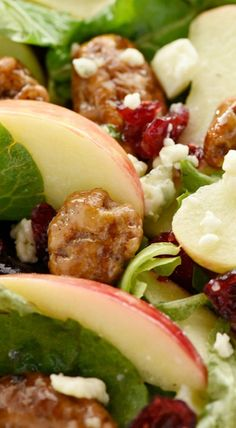 Holiday Honeycrisp Salad - sans cranberries for me of course Thanksgiving Recipes, Holiday Recipes, Great Recipes, Favorite Recipes, Holiday Foods, Recipe Ideas, Vegetarian Recipes, Cooking Recipes, Healthy Recipes
