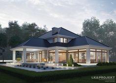 Projekt domu LK&1259 to duży dom parterowy z poddaszem użytkowym.  Bryłę domu ozdabia nowoczesna ciemna dachówka i duże przeszklenia części dziennej.  Czy podoba się Wam połączenie tradycyjnego i nowoczesnego stylu w bryle budynku?  Zapraszamy do obejrzenia http://lk-projekt.pl/lkand1259-produkt-9573.html?utm_content=bufferdff2b&utm_medium=social&utm_source=pinterest.com&utm_campaign=buffer