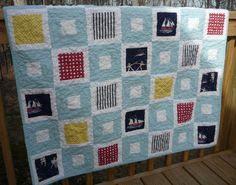 Out to Sea Baby Boy Quilt by Greenerbeginnings on Etsy, $90.00