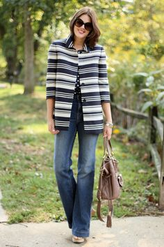 Jessica Quirk, What I Wore, Style Blog, Outfit Blog, Personal Style Blog, Fashion Blog, Ann Taylor Striped Jacket, Navy Polka Dot J. Crew Blouse, J.Brand Bette Jeans, Lancel, Coin Charm Bracelet, Bloomington IN, Midwest Style, Jackie O, 1970s Jackie O