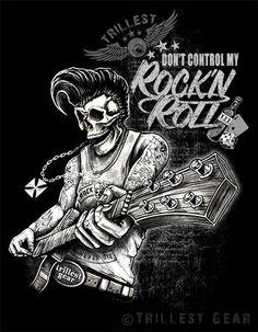 Nuevo Men t-shirt-talla S M L XL XXL negro rock n roll rockabilly Old School