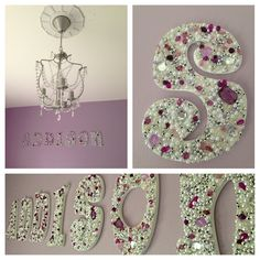 DIY Jeweled Wooden Letters for little girls room... Future!