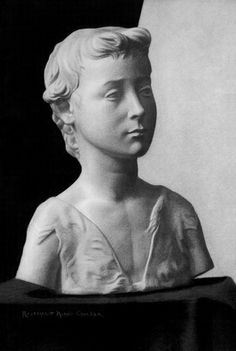 "St. John the Baptist, Still Life Charcoal drawing of a plaster cast bust. Bust depicts Donatello's vision of a young St. John the Baptist and is cast from a mold made from the original Donatello sculpture in Florence Italy by the Caproni Collection, Giust Gallery, Boston. Drawing rendered by Rosemarie Morelli 22""x29"" in 22k gold leaf frame. www.RosemarieMorelliArtStudio.com"