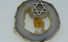 Star-Of-David-Sterling-Silver-ON-White-Agate-Drusy-Slice-And-CITRIN-Pendant