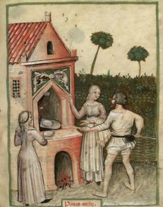 The female baker is wearing a pink kirtle, sleeveless white overkirtle (perhaps a full-length apron?), and a regular apron. [Bakery, The Tacuinum Sanitas , Late 14th C.]