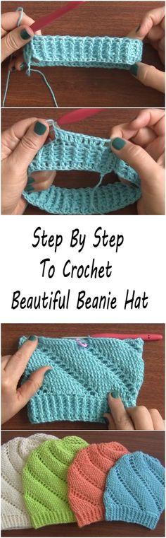 Very Beautiful Beanie Hat Tutorial - ilove-crochet Gilet Crochet, Crochet Beanie Hat, Crochet Cap, Diy Crochet, Beanie Hats, Crochet Stitches, Crotchet, Beanies, Crochet Adult Hat