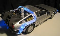 Scale model of the Delorean from Back to the Future, complete with working lights, Mr. Fusion and hover conversion. I try to touch it at least once a day.