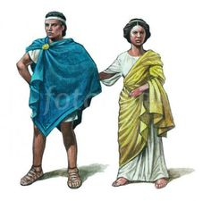 The man in this image is wearing clothes that were typically worn by upper class Greek men around 500 BCE.