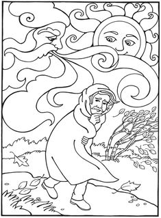 Best Loved AESOPS FABLES The Wind And Sun Coloring Book FOR CHILDREN