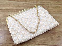 Pretty Pearly Hong Kong Purse Golden Name Hong Kong Vintage Pearl Handbag. Gold Chain Strap. Cream. by TheOldJunkTrunk