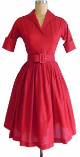 I remember my Grandma wearing dresses just like this. She had on in every color I believe:) Americana Dress style #cg-dam1-redvoile  Our Americana Dress is a style that we are all excited about. This classic dress features 3/4 length sleeves that can be cuffed to an even shorter length. The pointed collar and fitted bodice add sleek sophistication to the pleated full knee length skirt.