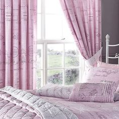 Script Standard Lined Curtains in pale pink #Freemans