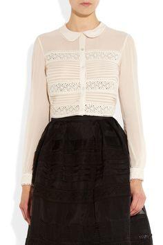 Temperley London Lace-trimmed silk blouse NET-A-PORTER.COM