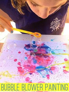 Using just two ingredients, this super fun bubble blower painting will have your kids spellbound! Great Spring and Summer activity for kids #artsandcraftsforkids,