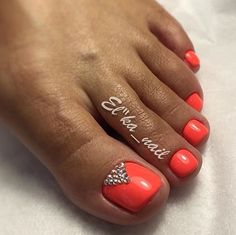 Coral-Orange Toe nails