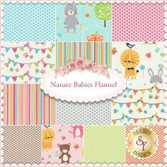 Nature Babies Flannel 13 FQ Set for Michael Miller Fabrics: **Due to the bulk of this product, additional shipping charges may apply.** Nature Babies Flannel is an adorable collection by Michael Miller Fabrics. 100% Cotton. This set contains 13 fat quarters, each measuring approximately 18