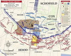Breakthrough by Confederate troops of the Union line.  See this map and other great, animated maps at the Civil War Trust link below.