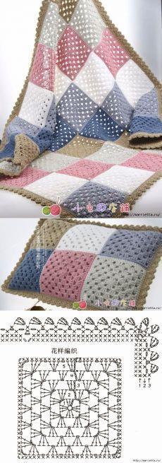 Manta e almofada em crochê com quadrados em ponto alto coloridos