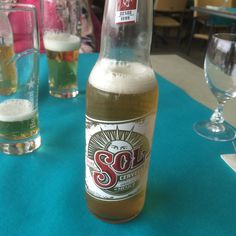 No local pression at beach side cafe in #Deauville, so had to have Sol !