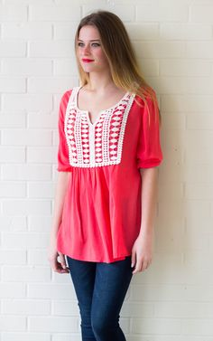 Savannah Crochet Top- Red