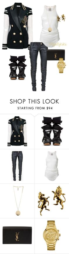 """""""Fall's Soldier"""" by stylesbykeikei ❤ liked on Polyvore featuring Faith Connexion, Versace, Balmain, Rick Owens, Givenchy, Yves Saint Laurent and GUESS"""
