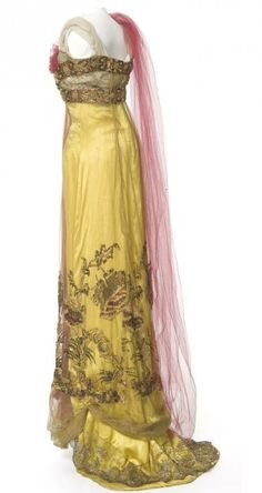 Lemon-Hued Evening Gown of Satin, Tulle, Metallic Lace, Embroidery & Beads. Paris, 1907-1910.