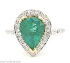 1.72CT Fine Natural Pear Shape Green Emerald & Round Diamond Ring 14K 2Tone Gold